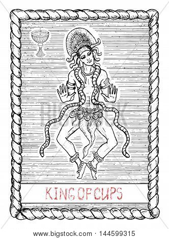 King of cups. The minor arcana tarot card, vintage hand drawn engraved illustration with mystic symbols. Handsome man, asian dancer or actor