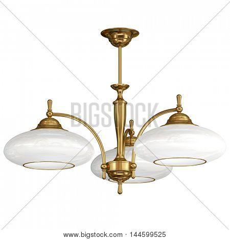 Vintage chandelier isolated on white background. 3d illustration