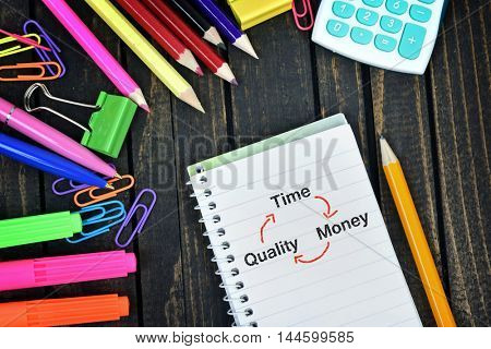 Time Quality Money text on notepad and office tools on wooden table