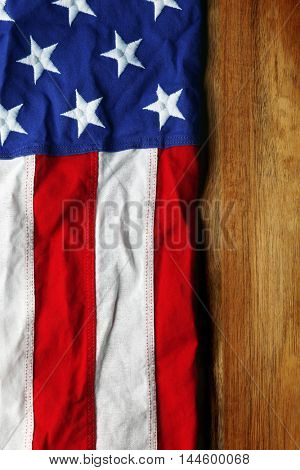 USA flag on wooden background