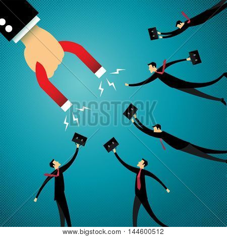 Businessman holding magnet attracting customers and clients to business. Business concept