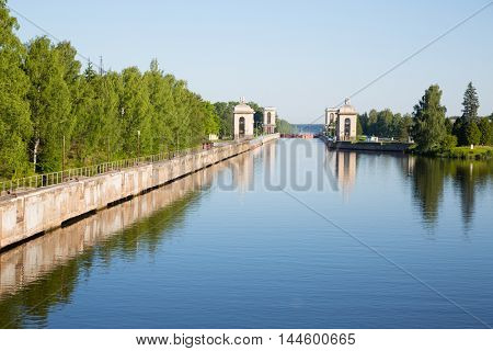 Sluice construction on the Moscow Canal (Moscow-Volga Canal)