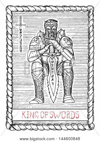 King of swords.The minor arcana tarot card, vintage hand drawn engraved illustration with mystic symbols. Old man, warrior, medieval knight or emperor wearing armour, sitting and holding sword