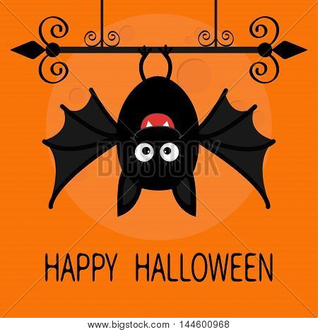 Happy Halloween card. Cute cartoon hanging bat. Animal character. Baby illustration collection. Wrought iron. Big moon. Flat design. Orange background. Vector illustration