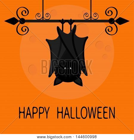 Happy Halloween card. Cute sleeping bat hanging on wrought iron. Closed wings. Cartoon character. Baby illustration collection. Big moon. Flat design. Orange background. Vector illustration