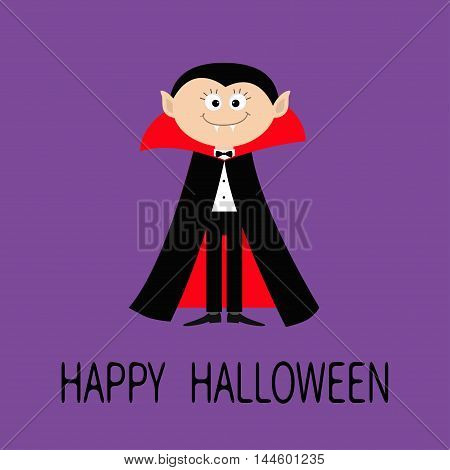 Count Dracula wearing black and red cape. Cute cartoon vampire character with fangs. Happy Halloween. Flat design. Violet background. Vector illustration