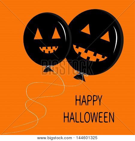 Two cute cartoon funny black balloon pumpkin with scary smile eyes and teeth. Thread bow. Halloween card for kids. Flat design. Orange background. Vector illustration