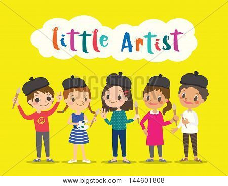 little artist isolated kids children with painting tools cartoon character vector illustration