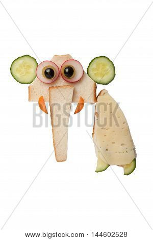 Elephant made of bread and cheese on isolated background