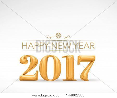 2017 New Year Golden Number (3D Rendering) On White Studio Room,holiday Card,leave Space For Adding