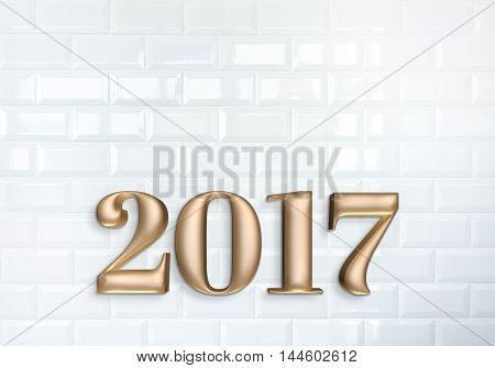 New Year 2017 Rose Gold Color Number (3D Rendering) On White Ceramic Tile Brick Wall Texture,copy Sp