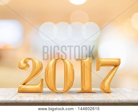 Golden Color 2017(3D Rendering) New Year On Marble Table Top With Blur Abstract Bokeh Background,hol