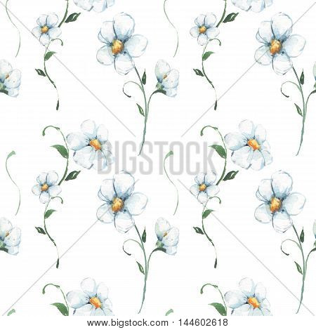 White flowers. Watercolor floral pattern. Seamless hand drawn background 1