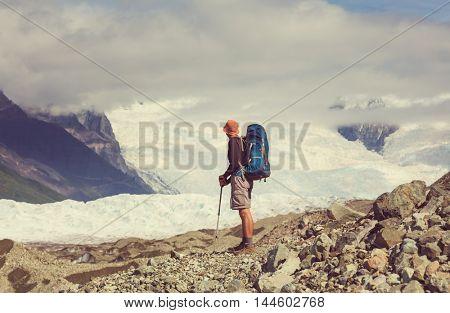 Hike in Wrangell-St. Elias National Park, Alaska. Instagram filter.