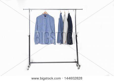 Set of men's shirt hanging