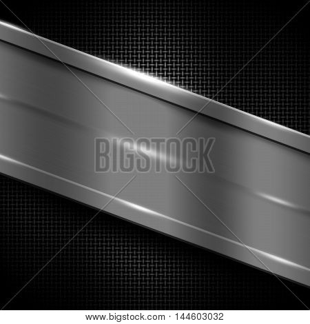 gray metal frame on black metallic mesh. metal background. 3d illustration.