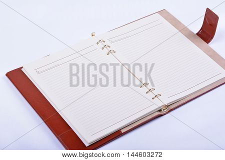 Opened luxury leather diary on white background
