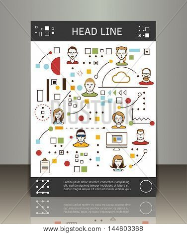 Flat line design style modern vector illustration concept for business people teamwork. Vector business brochure or magazine cover template.