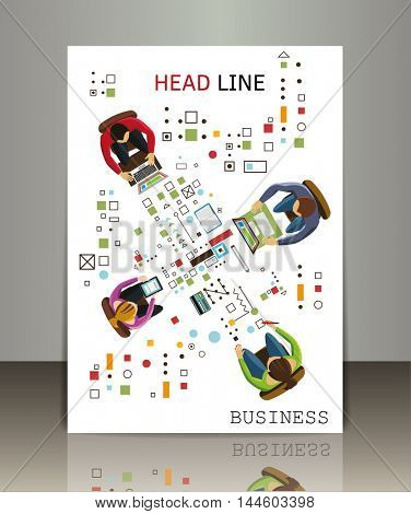 Team work concept. Vector business brochure or magazine cover template.