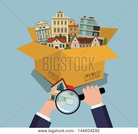 Houses From Box. Real Estate Finding with magnifying glass.