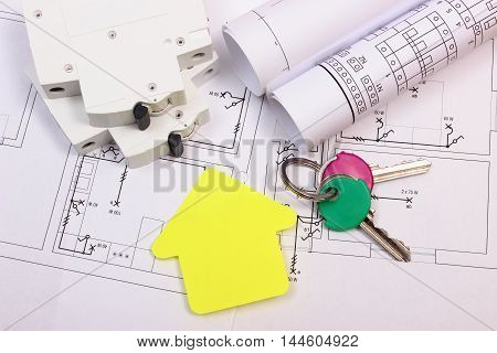 House Of Yellow Paper, Keys, Electric Fuse And Construction Drawing