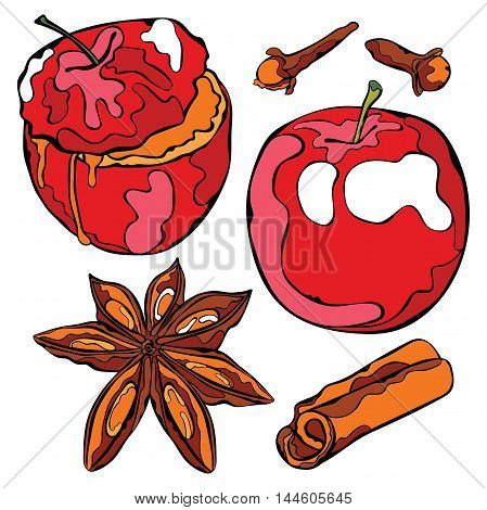 Baked apple and spices. Isolated vector objects on white background.