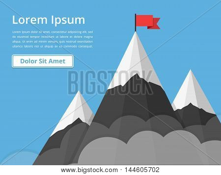 Mountains with flag on background of blue sky with clouds, success or mission concept, vector eps10 illustration