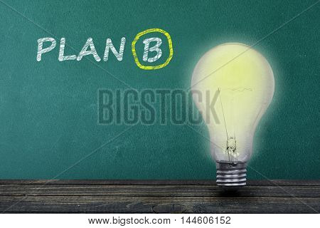 Plan B text on green board and light bulb on table