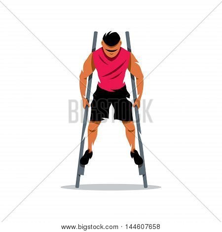 Boy staying on sticks. Isolated on a white background