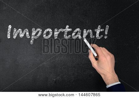 Important text write on black board