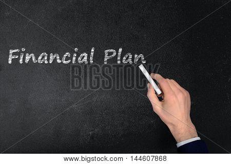 Financial Plan text write on black board