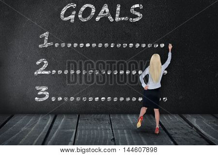 Goals text write on black board