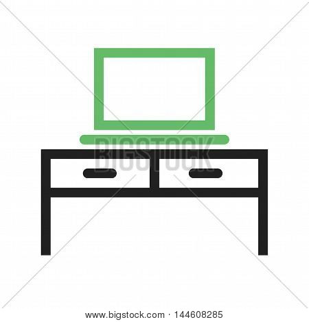 Laptop, desk, table icon vector image. Can also be used for E Learning. Suitable for mobile apps, web apps and print media.