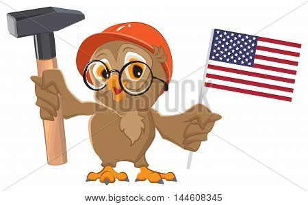 Labor Day USA. Owl holding hammer and American flag. Isolated on white vector cartoon illustration