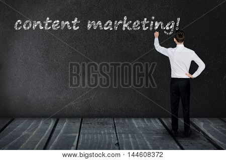Content marketing text write on black board
