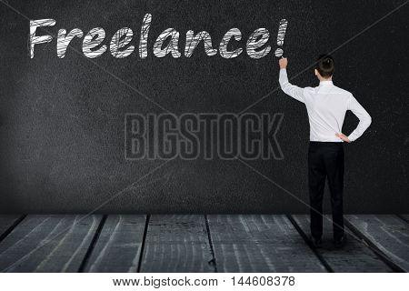 Freelance text write on black board