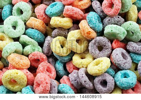 A macro image of fruit flavored breakfast cereal