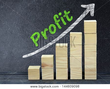Profit text on black board and block stairs