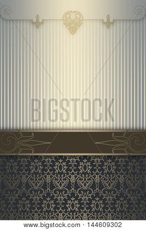Vintage background with decorative border and gold patterns.