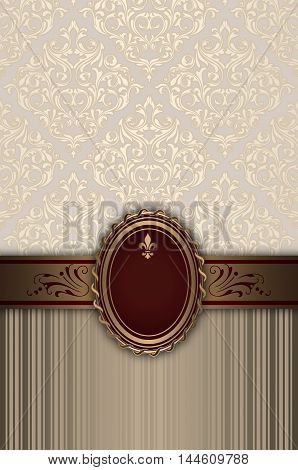 Ornate vintage background with decorative borderframe and old-fashioned patterns.