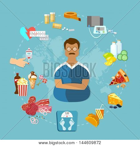 Overweight and obesity infographic fat man causes and effects of obesity vector illustration
