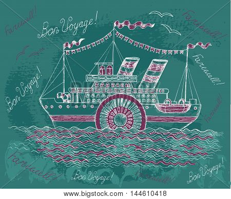 Hand drawn illustration with old steam ship on textured background. Doodle line art illustration with hand drawn design elements