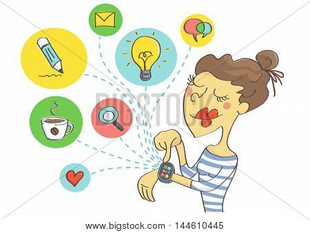 Wearable technology for women. Woman planning social activities on smart watch.