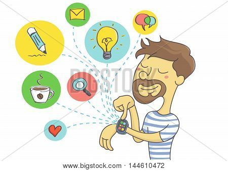 Wearable technology for men. Man planning social activities on his smart watch.
