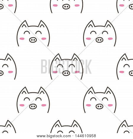 Cute doodle pigs, animals seamless pattern background.