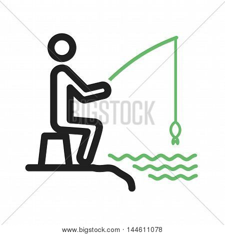 Fish, fishing, fisherman icon vector image. Can also be used for people. Suitable for use on web apps, mobile apps and print media.