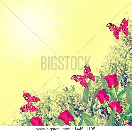 The buds of flowers roses. Holiday card. Floral background. butterfly