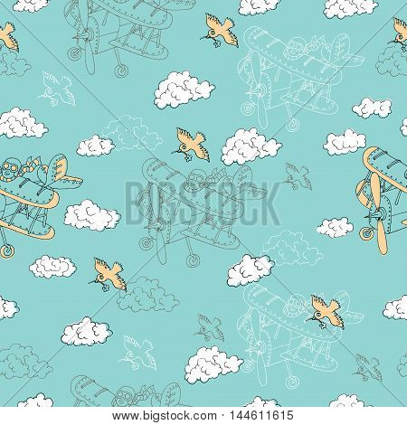 Seamless background with retro airplane, bird and clouds. Doodle line art with hand drawn design elements