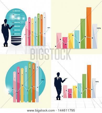 Businessman showing graph. Vector illustration