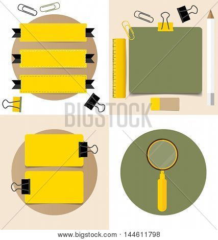 Cute note papers, ready for your message. Vector illustration